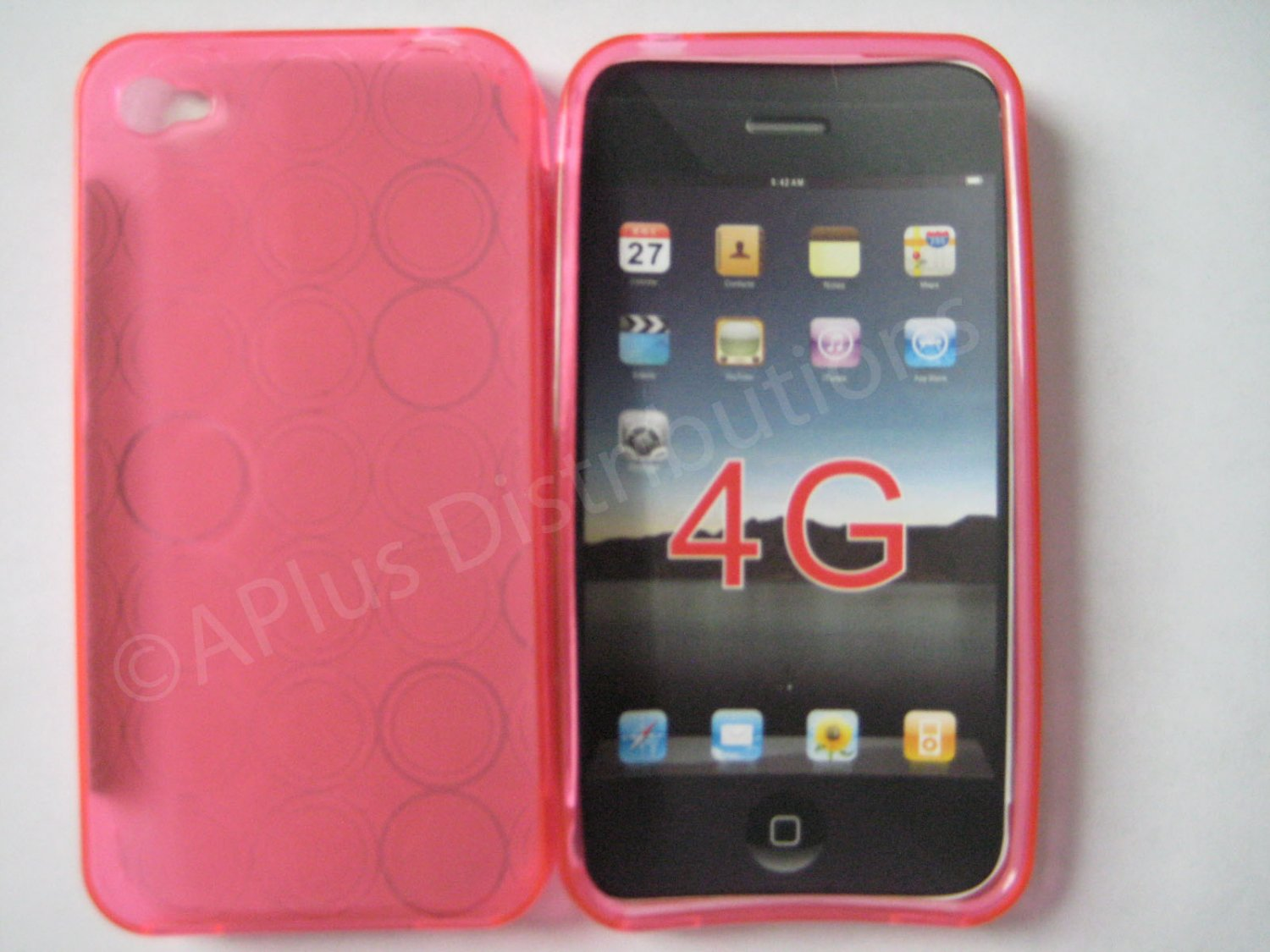 New Pink Transparent Multi-Circles Design TPU Cover For iPhone 4 - (0036)