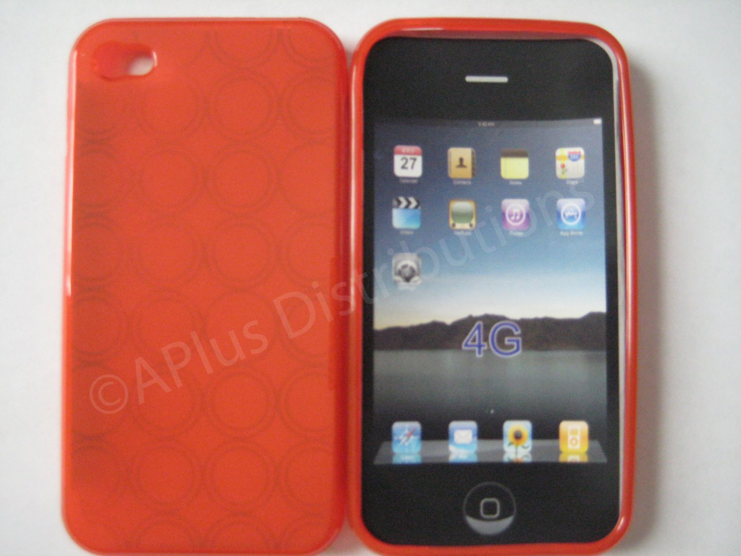 New Red Transparent Multi-Circles Design TPU Cover For iPhone 4 - (0042)
