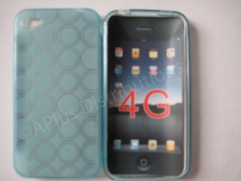 New Light Blue Transparent Multi-Circles Design TPU Cover For iPhone 4 - (0043)