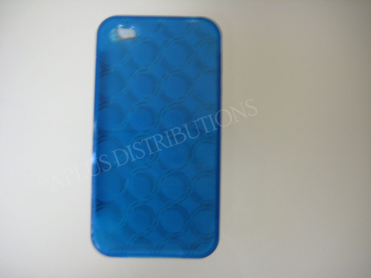 New Royal Blue Transparent Multi-Circles Design TPU Cover For iPhone 4 - (0039)