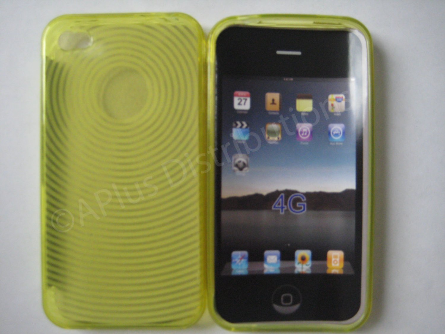 New Yellow Transparent Thumb Print Design TPU Cover For iPhone 4 - (0080)