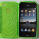 New Lime Green Transparent Thumb Print Design TPU Cover For iPhone 4 - (0079)