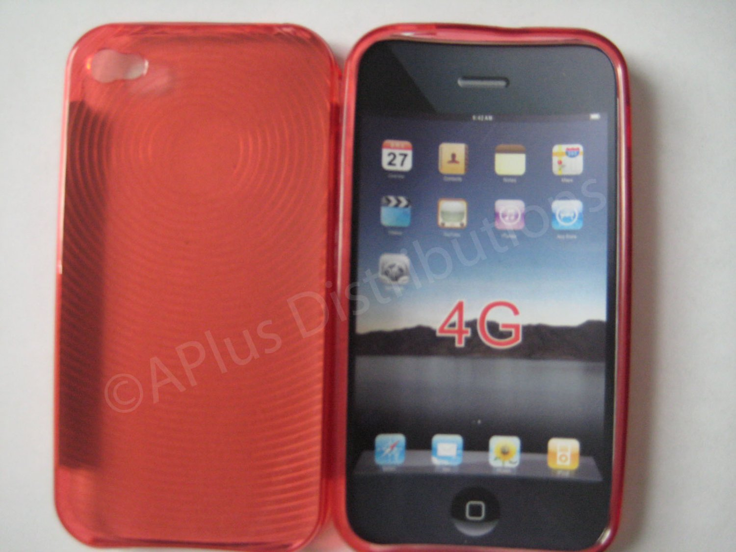 New Red Transparent Thumb Print Design TPU Cover For iPhone 4 - (0020)