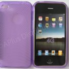 New Purple Transparent Thumb Print Design TPU Cover For iPhone 4 - (0018)