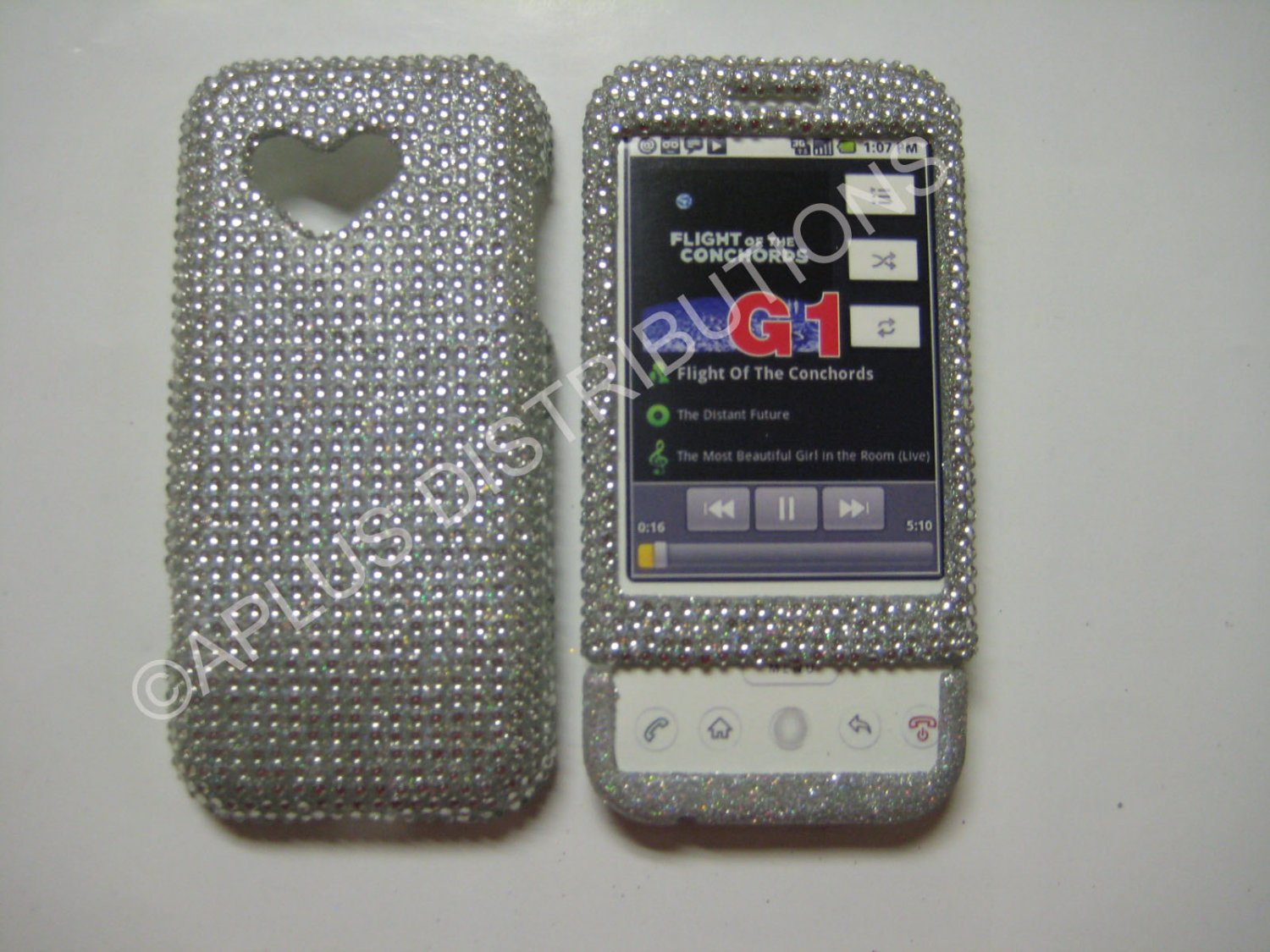 New Silver Solid Design Bling Diamond Case For HTC G1 Dream - (0004)