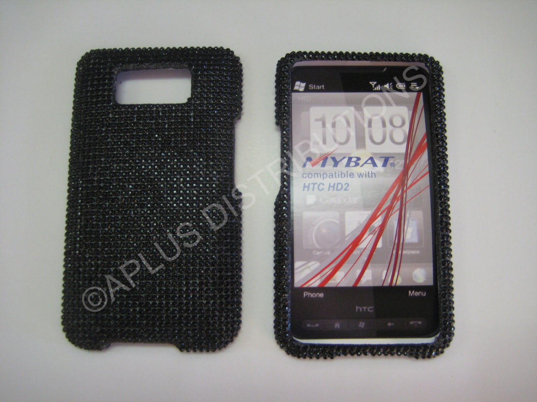 New Black Solid Diamond Bling Diamond Case For HTC HD2 - (0010)