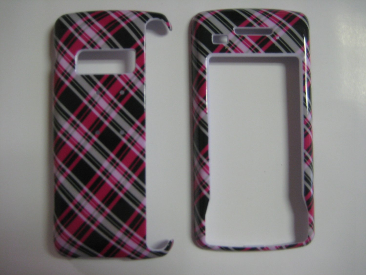 New Hot Pink Plaid Pattern Hard Protective Cover For LG Env Touch Lx11000 - (0015)