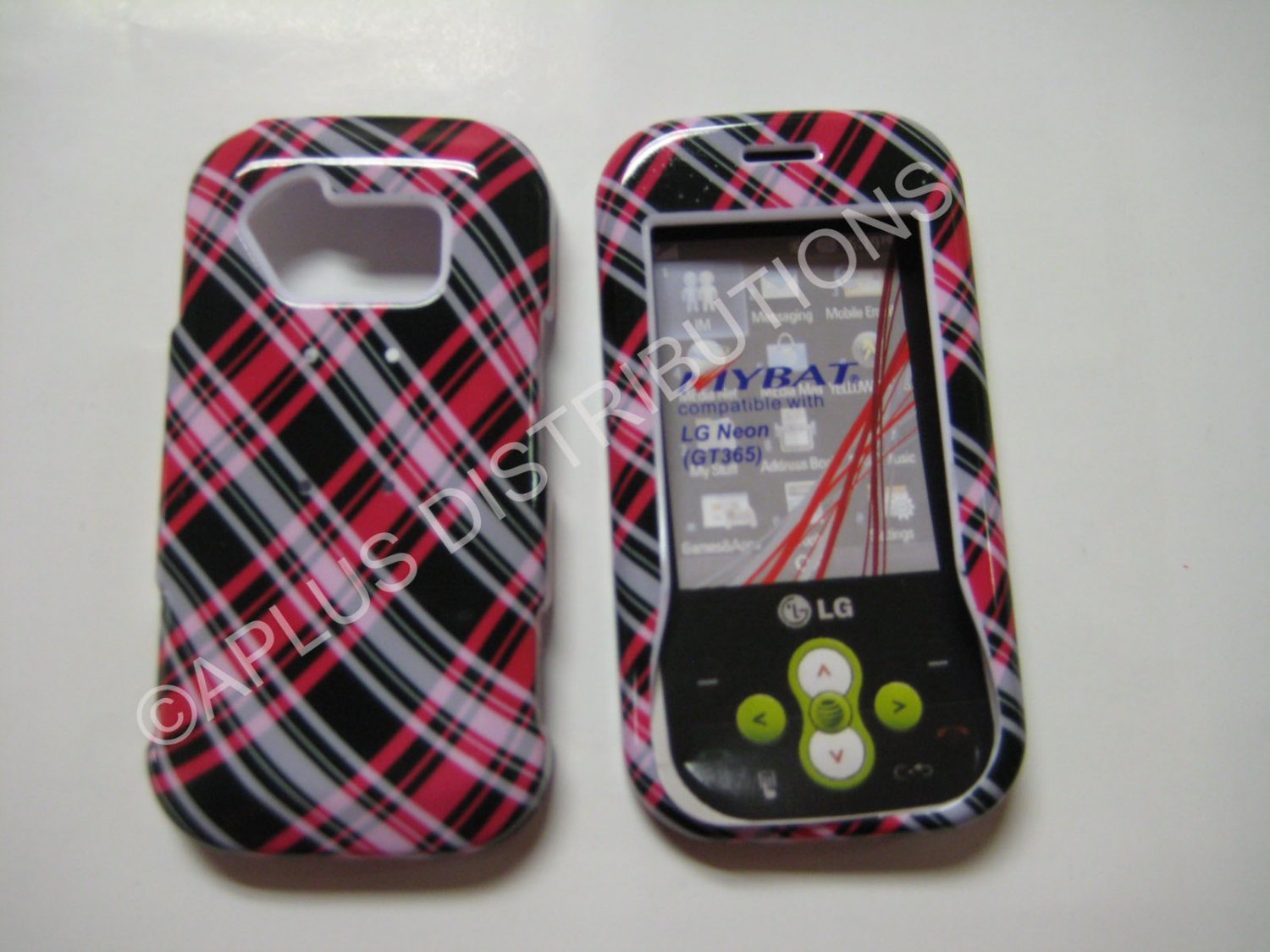 New Hot Pink Plaid Pattern Hard Protective Cover For LG Neon Gt365 - (0015)