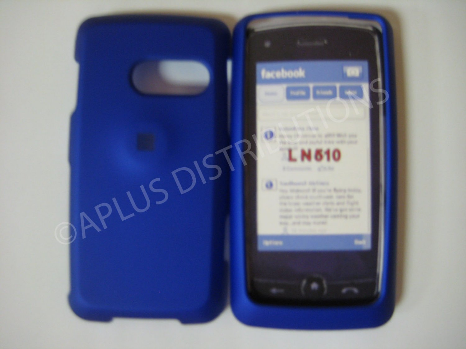 New Blue Rubberized Hard Protective Cover For LG Rumor Touch LN510 - (0053)
