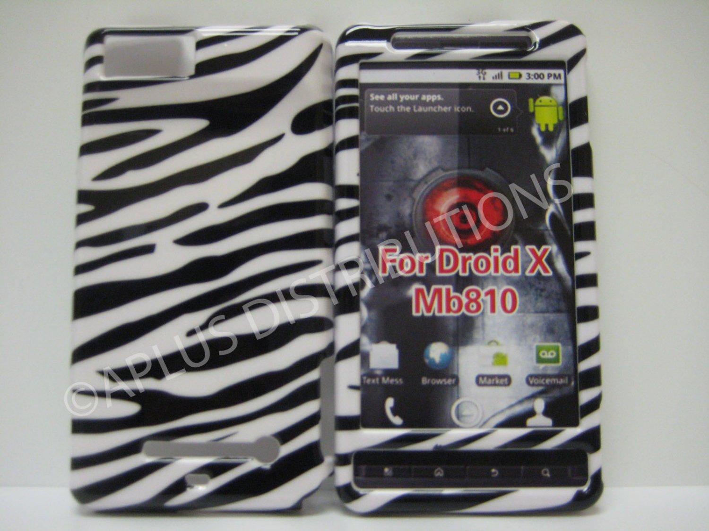 New Black Zebra Design Hard Protective Cover For Motorola Droid X MB810 - (0001)