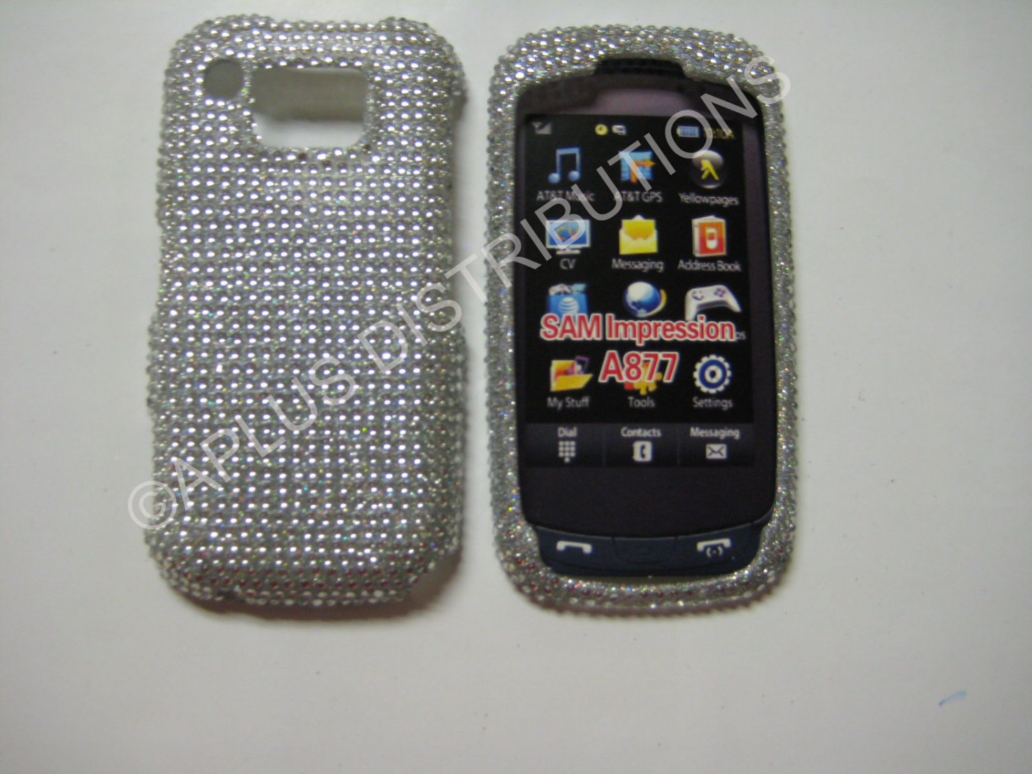 New Silver Solid Diamonds Bling Diamond Case For Samsung Impression A877 - (0004)