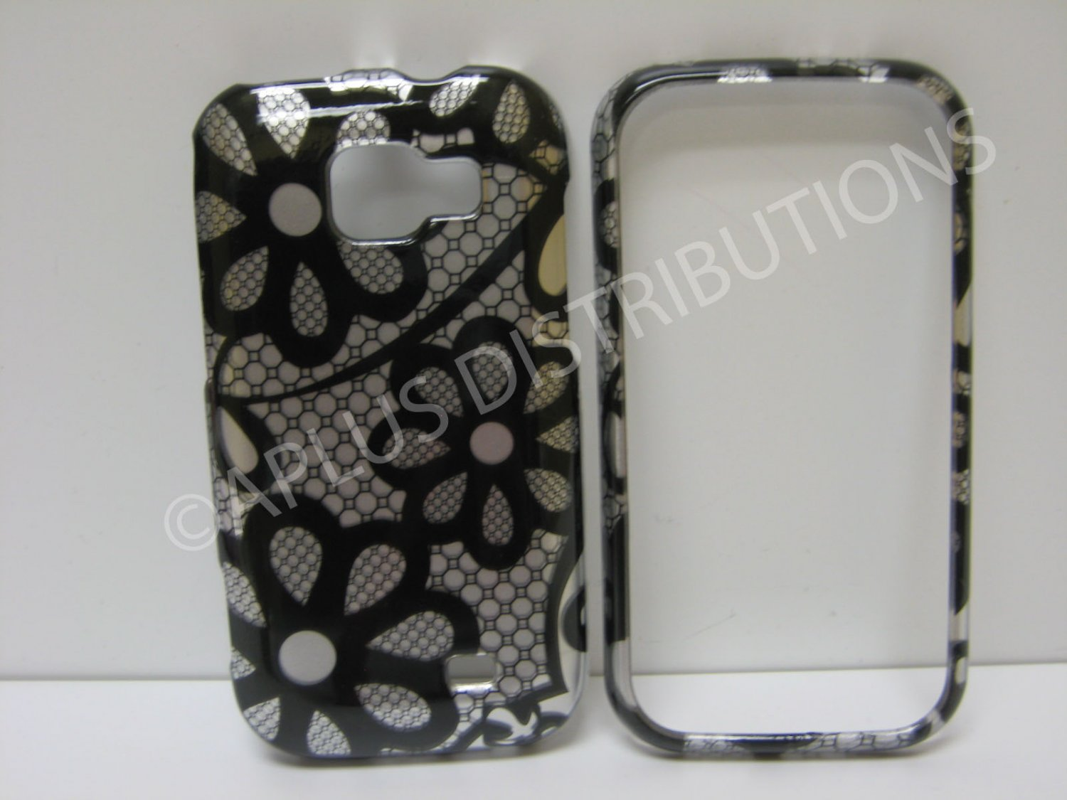 New Black Tri-Dasies Series Hard Protective Cover For Samsung Transform M920 - (0039)
