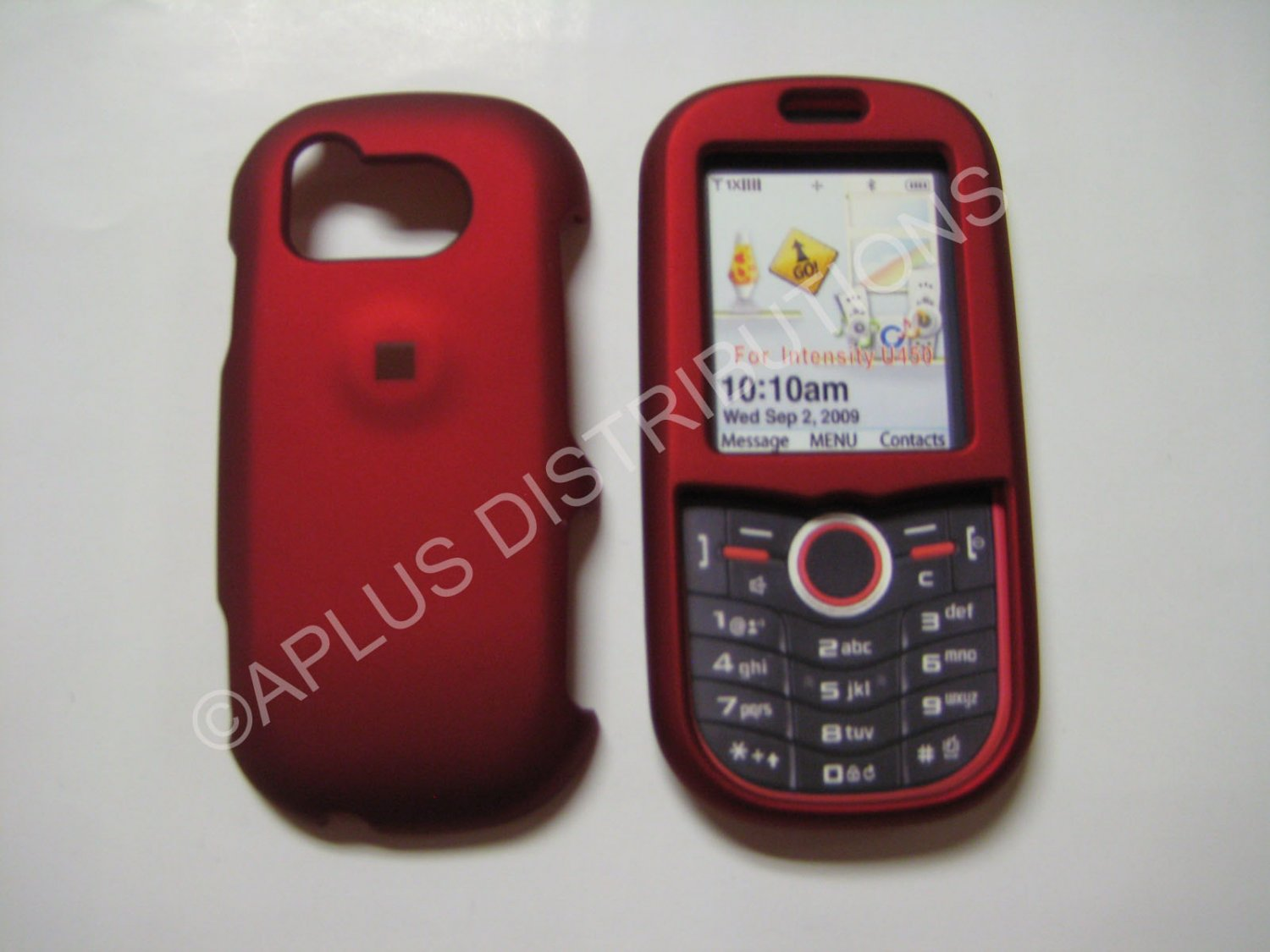 New Red Rubberized Hard Protective Cover For Samsung Intensity U450 - (0054)
