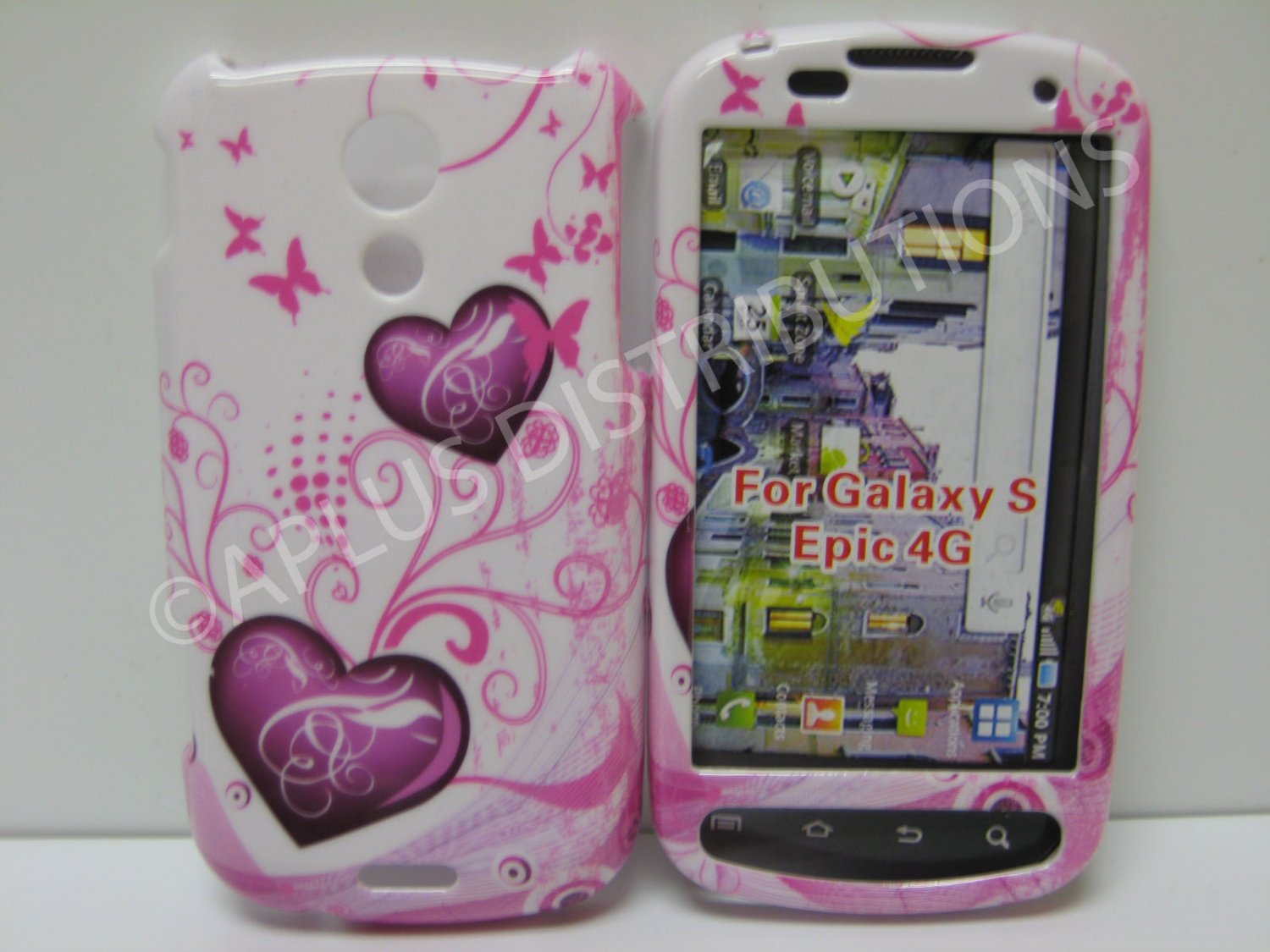 New Pink Two Heart Hard Protective Cover For Samsung Epic 4G - (0030)