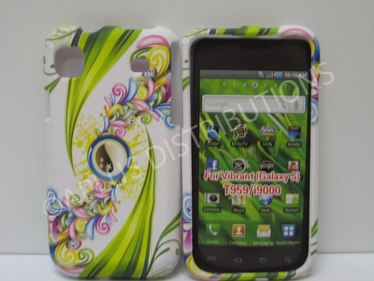 New Green Rubberized Peace Yin/Yang Hard Protective Cover For Samsung Galaxy S I9000 - (0028)