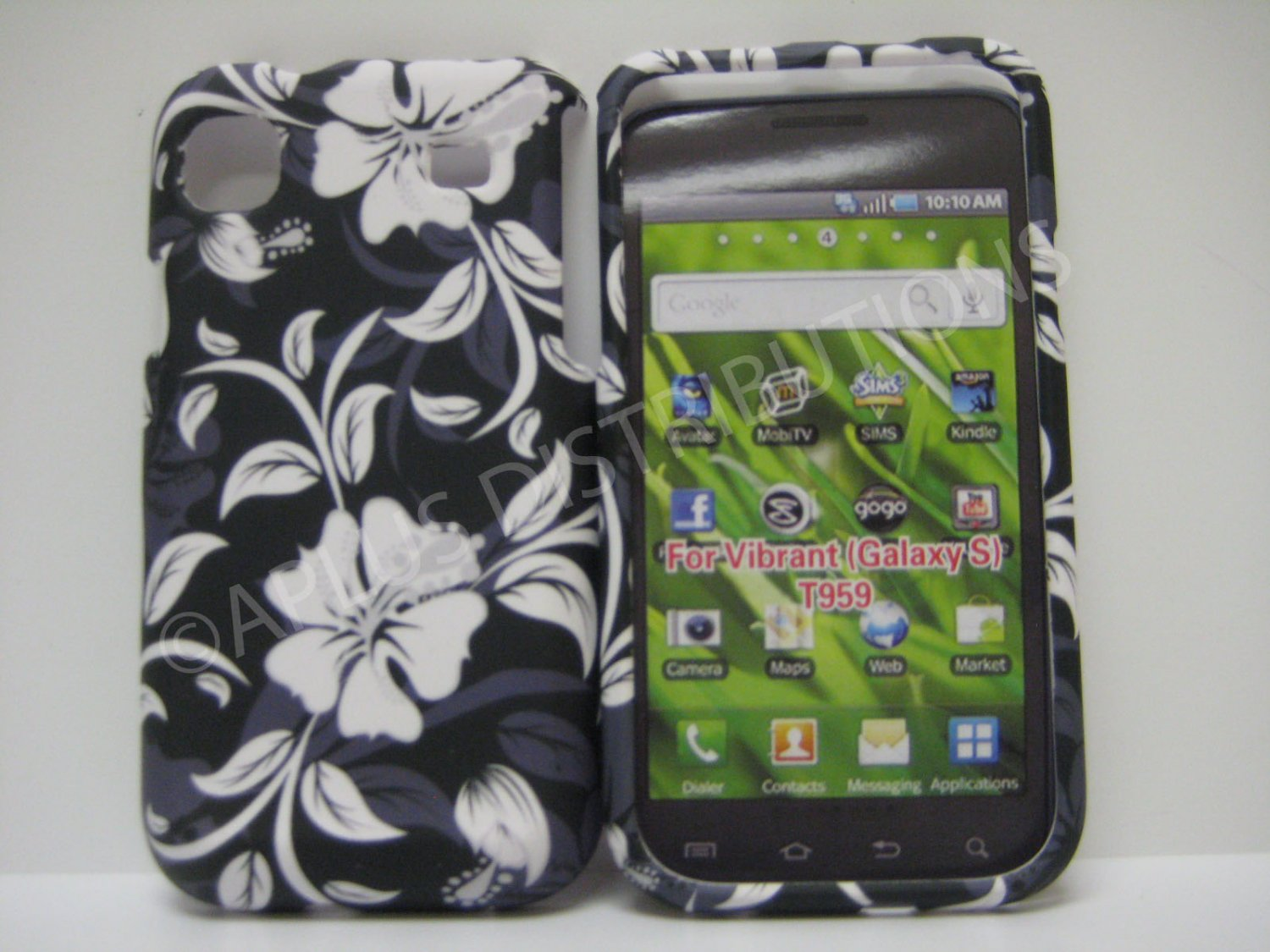 New Navy Rubberized Hibiscus Design Hard Protective Cover For Samsung Galaxy S I9000 - (0074)