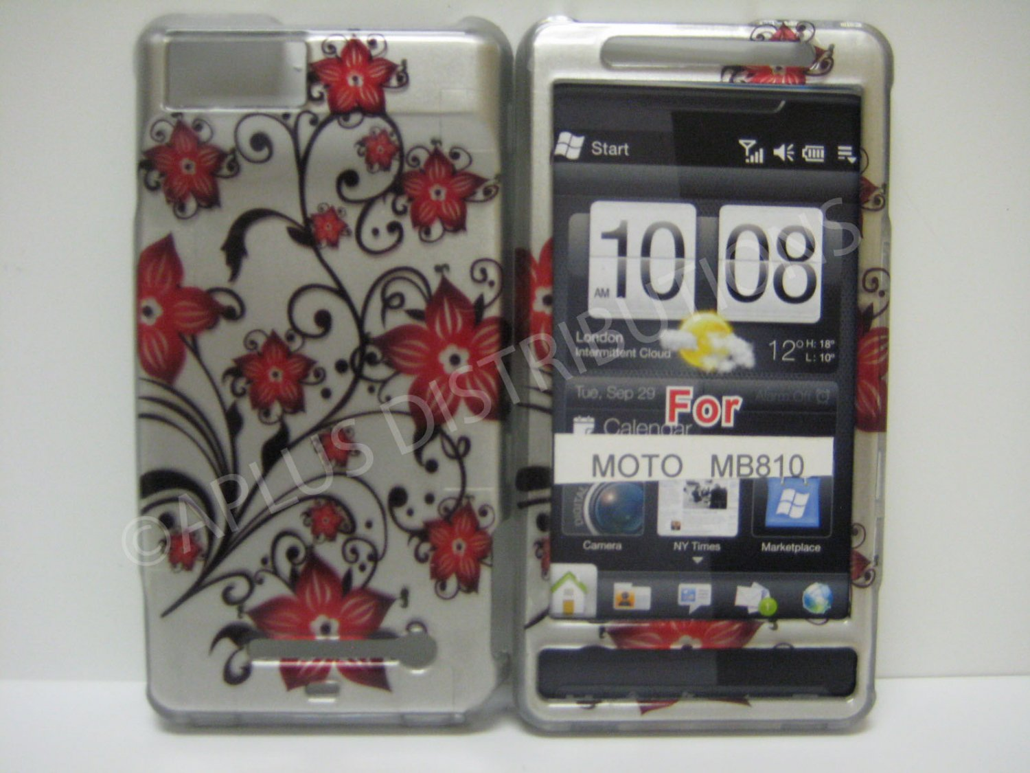 NEW Red Cherry Blossom Hard Protective Cover For Motorola Droid X MB810 - (0071)