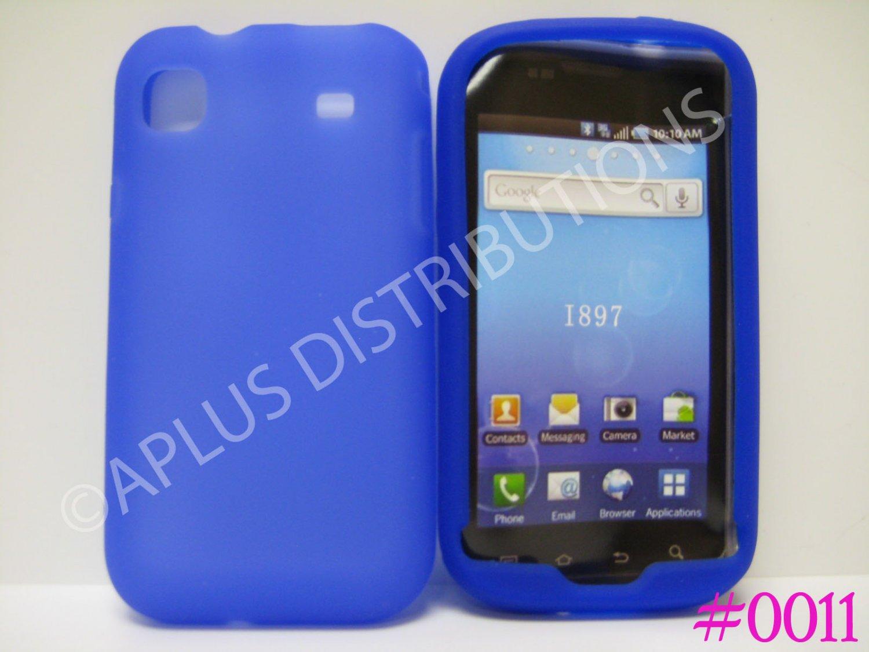 New Dark Blue Solid Color Silicone Skin Case For Samsung Galaxy S I9000 - (0011)