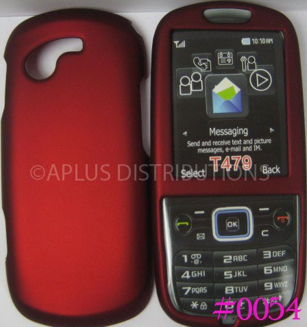 New Red Rubberized Hard Protective Cover For Samsung Gravity 3 T479 - (0054)