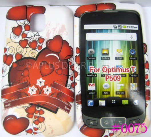 New Red Ribbon Hearts Design Hard Protective Cover For LG Optimus T P509 - (0075)