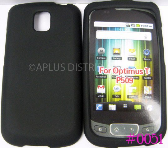New Solid Black Design Rubberized Hard Protective Cover For LG Optimus T P509 - (0051)