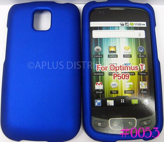New Solid Blue Design Rubberized Hard Protective Cover For LG Optimus T P509 - (0051)