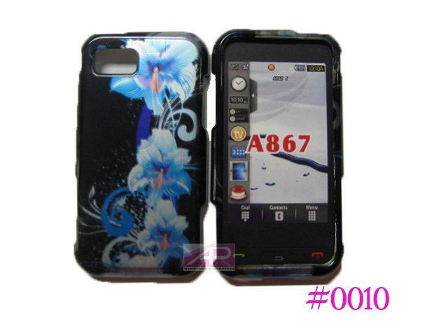 New Blue 3D Flower Hard Protective Cover For Samsung Eternity A867 - (0010)