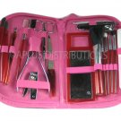 NEW 18-PIECE MANICURE & COSMETIC TRAVEL SET WCONVENIENT ZIPPER CASE - HOT PINK