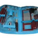 NEW 18-PIECE MANICURE & COSMETIC TRAVEL SET WCONVENIENT ZIPPER CASE - L BLU