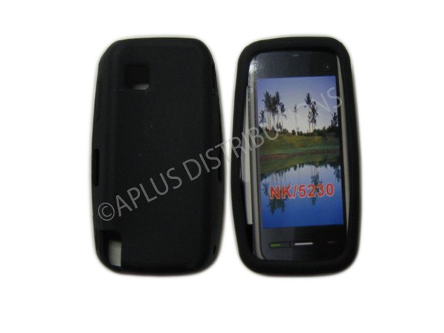New Black Solid Color Silicone Skin Case For Nokia Nuron 5230 - (0006)