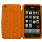 New Orange Tire Print Pattern Silicone Cover For iPhone 3G 3GS - (0128)