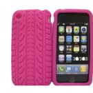 New Hot Pink Tire Print Pattern Silicone Cover For iPhone 3G 3GS - (0127)