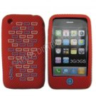 New Red Primo Bricks Design Silicone Cover For iPhone 3G 3GS - (0039)