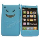 New Sky Blue Devil Design Silicone Cover For iPhone 3G 3GS - (0090)