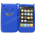 New Dark Blue Devil Design Silicone Cover For iPhone 3G 3GS - (0187)