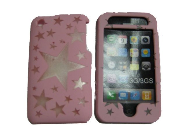 New Light Pink Transparent Stars Design Hard Protective Cover For iPhone 3G 3GS - (0109)