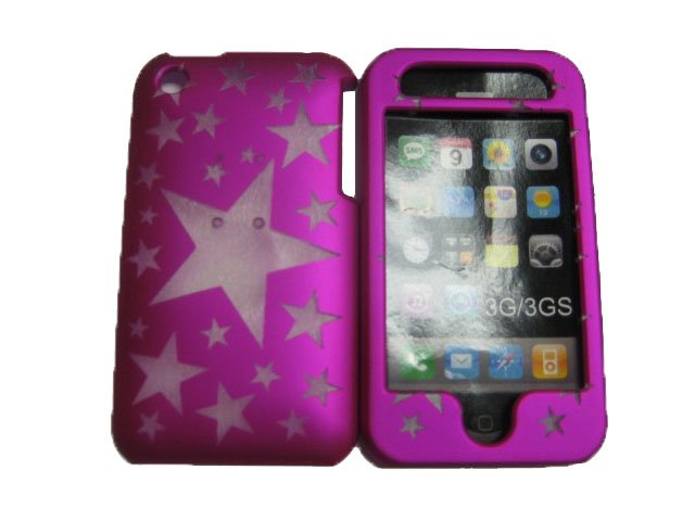 New Hot Pink Transparent Stars Design Hard Protective Cover For iPhone 3G 3GS - (0108)