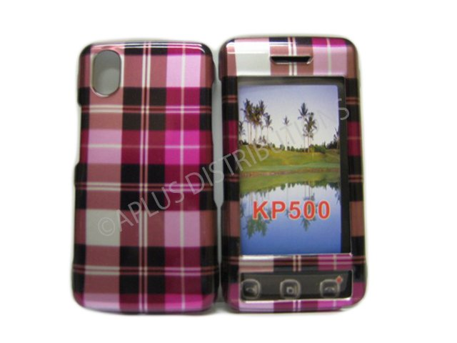 New Light Pink Plaid Pattern Hard Protective Cover For LG Cookie Kp500 - (0050)