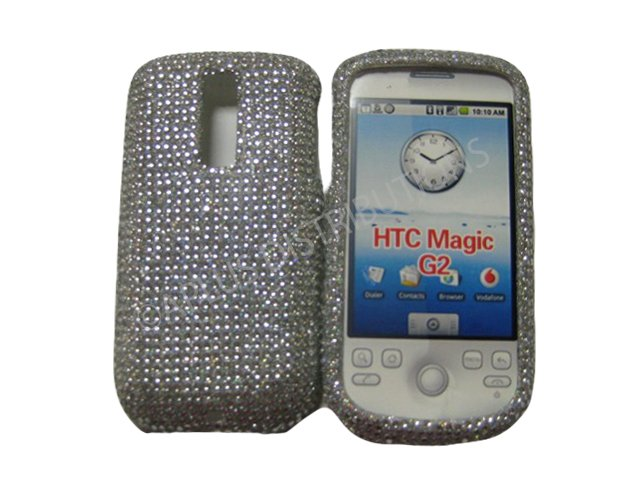 NEW SOLID WHITE DESIGN CRYSTAL BLING DIAMOND CASE COVER FOR HTC MY TOUCH G2 �MAGIC�