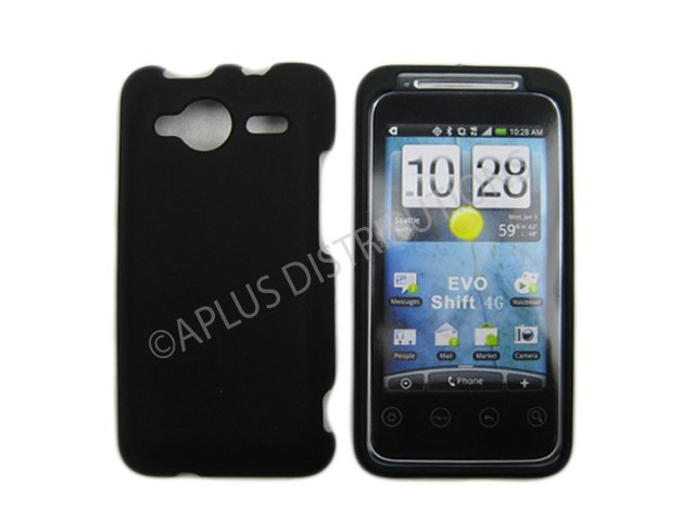 New Black Solid Color Hard Rubberized Case Cover For HTC Evo Shift 4G