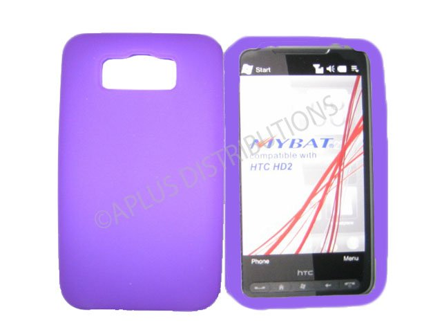 New Purple Solid Color Silicone Skin Case For HTC HD 2
