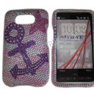 New Purple Anchor Design Crystal Bling Diamond Case Cover For HTC HD2