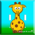 CUTE GIRAFFE KIDS ROOM DECOR DOUBLE LIGHT SWITCH PLATE