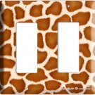 GIRAFFE ANIMAL SKIN PRINTS KIDS ROOM DECO ROCKER DOUBLE LIGHT SWITCH PLATE