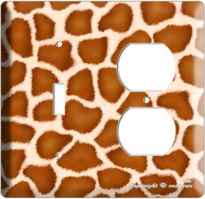 GIRAFFE SKIN ANIMAL PRINTS KIDS ROOM  DOUBLE LIGHT SWITCH AND OUTLET COMBO PLATE