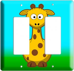 CUTE GIRAFFE KIDS ROOM DECO ROCKER DOUBLE LIGHT WALL SWITCH PLATE