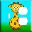 CUTE GIRAFFE KIDS ROOM DECOR DECO ROCKER ELECTRICAL 4 HOLE OUTLET  AND LIGHT SWITCH WALL PLATE COVER