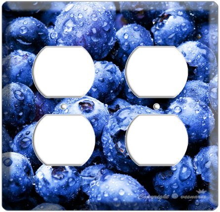 YAMMIE BLUEBERRY KITCHEN DECOR 4 HOLE OUTLET WALL PLATE COVER
