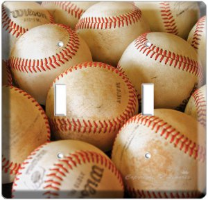 NEW BASEBALL PLAYED OLD BALLS MLB DOUBLE SWITCH COVER WALL PLATE COVER