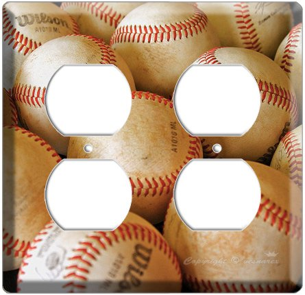 NEW BASEBALL PLAYED OLD BALLS MLB ELECTRIC QUARD POWER OUTLET COVER WALL PLATE COVER